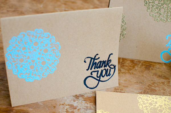 Easy Embossed Greeting Card - DIY thank you notes