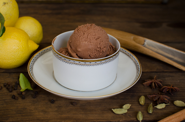 Chocolate chai ice cream recipe - topped with freshly grated cinnamon