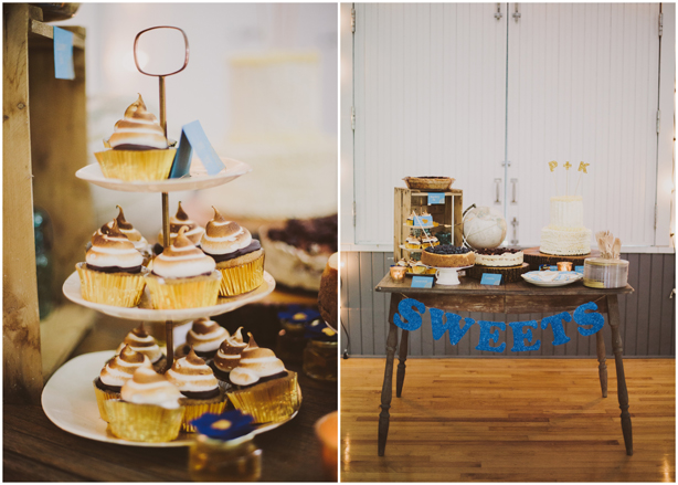 DIY Dessert Table Tiramisu with S'mores Cupcakes and Glitter Letter String