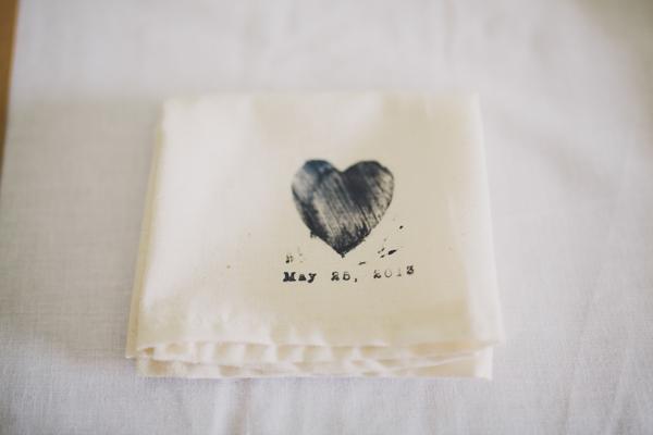 Wedding Details - Homemade Hand Stamped Napkins