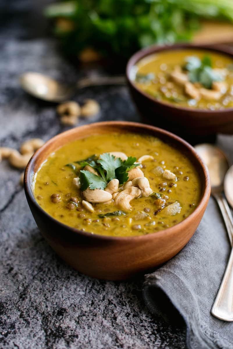 Healthy Vegan Curry Lentil Soup Recipe with Coconut Milk