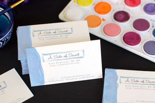 Dip-Dye Watercolor Business Cards - make your business cards stand out!