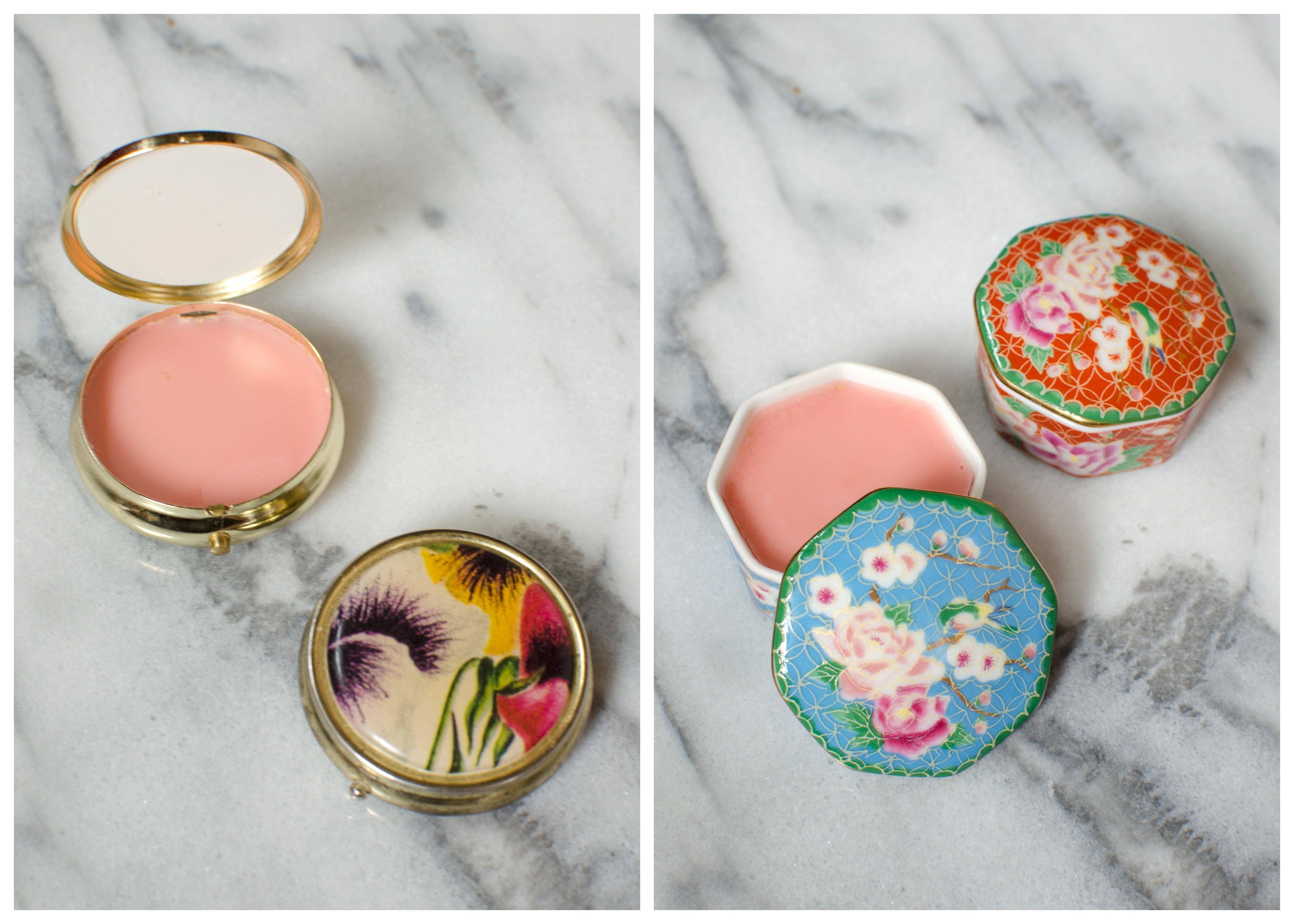 DIY Homemade Lip Balm in Vintage Pillboxes
