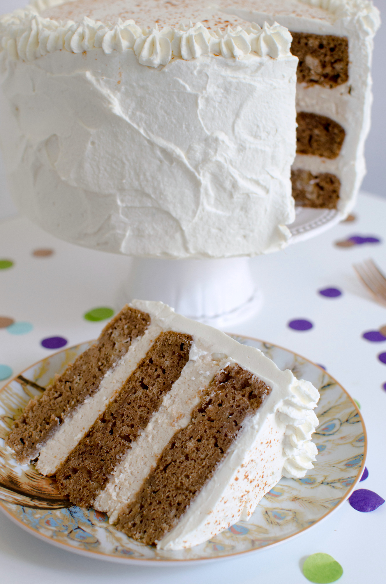 Chai Tea Cake Recipe with Maple Cream Cheese Frosting and Maple Whipped Cream!
