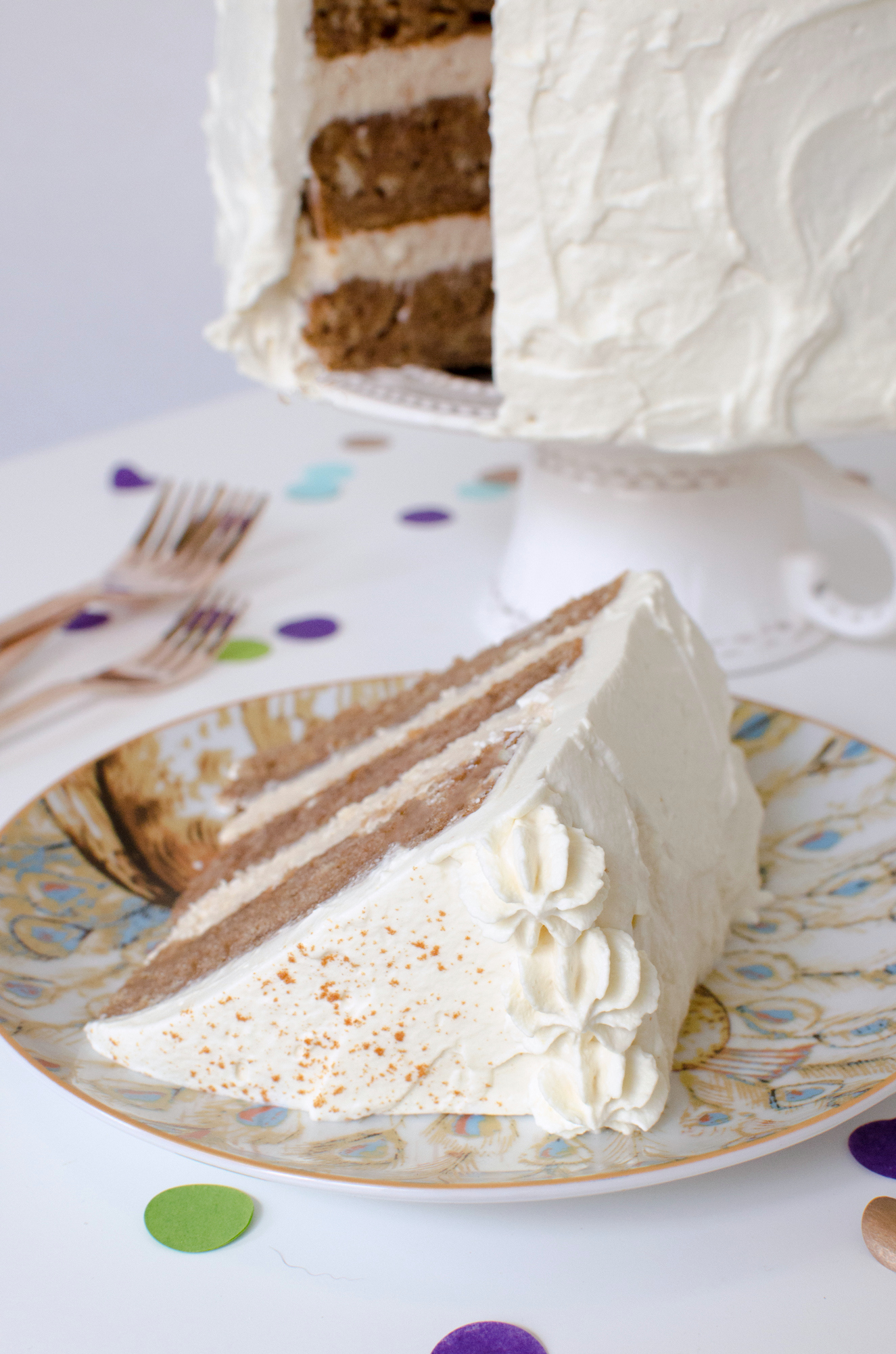 Chai Cake Recipe with Maple Cream Cheese Frosting and Maple Whipped Cream!