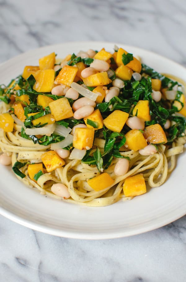 Fall Pasta with Pumpkin and Collared Greens Recipe