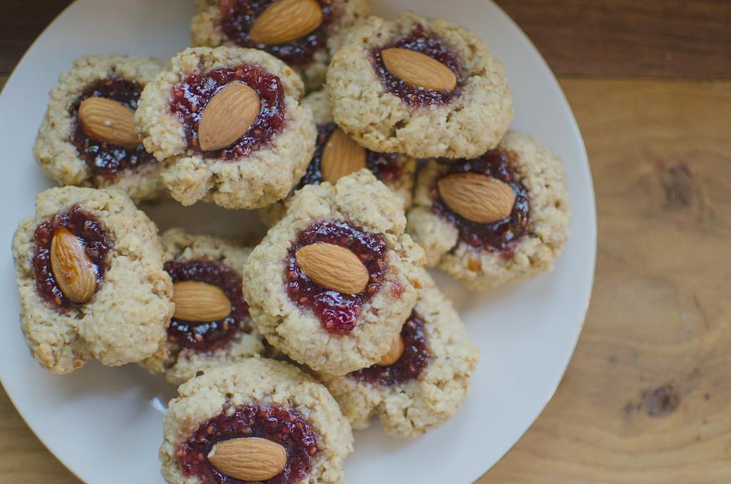 Healthier Super Bowl Recipes - Vegan Thumbprint Cookies Filled with Jam