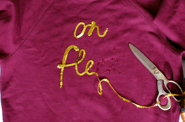 On Fleek Gold Sequin Word Sweatshirt