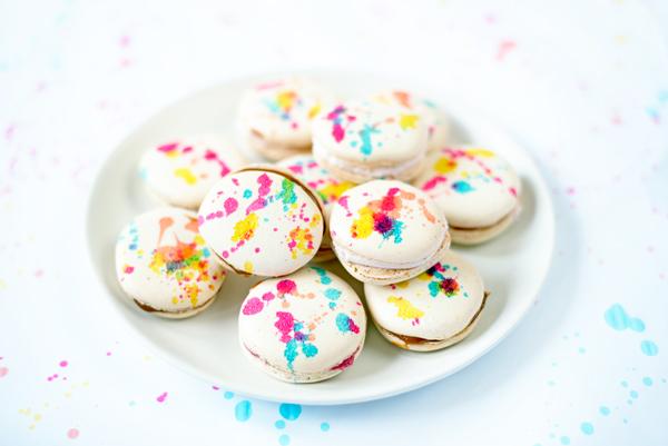 Splatter Painted French Macarons DIY with Plain Macaron Shells Recipe