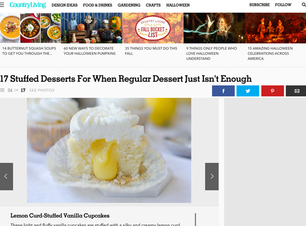 Stuffed Desserts Feature, Country Living