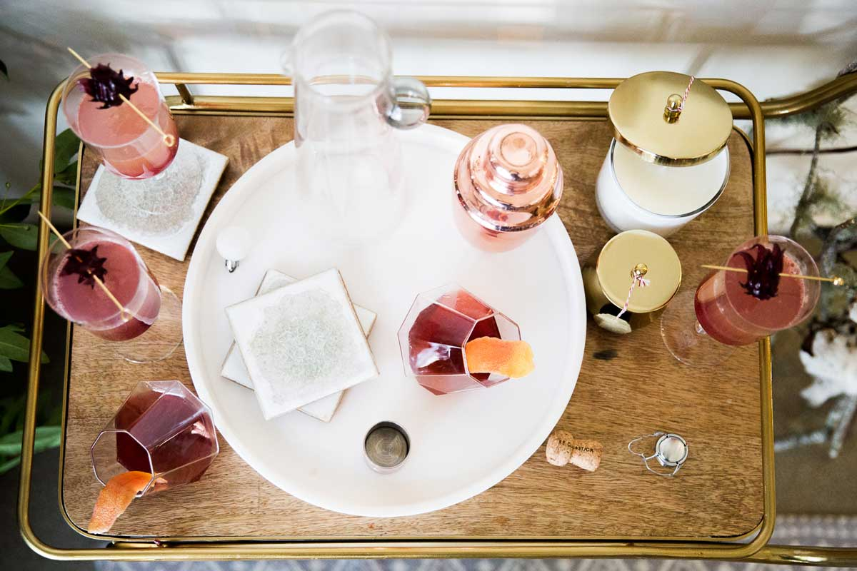 Beautiful barcart inspiration with Rose Gold and Gold Accents