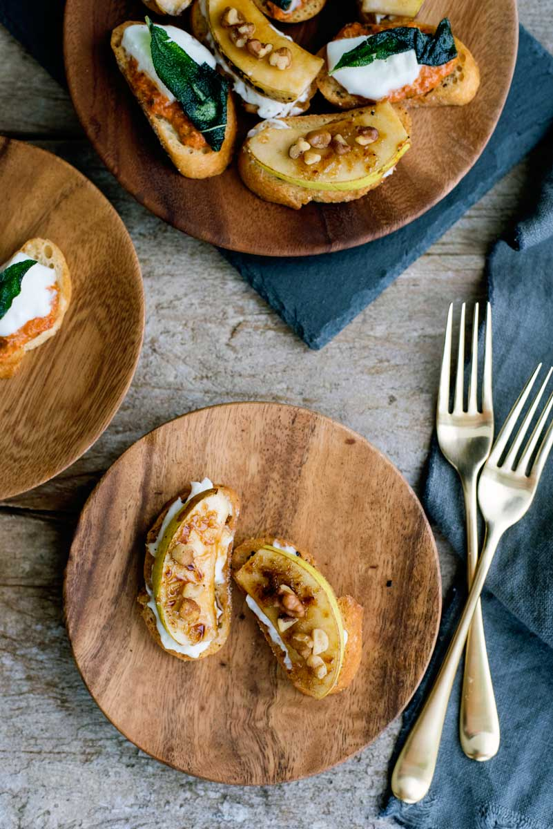 Fancy Crostini Recipe - DELICIOUS Bruleed Pear Burrata Crostini Appetizer!