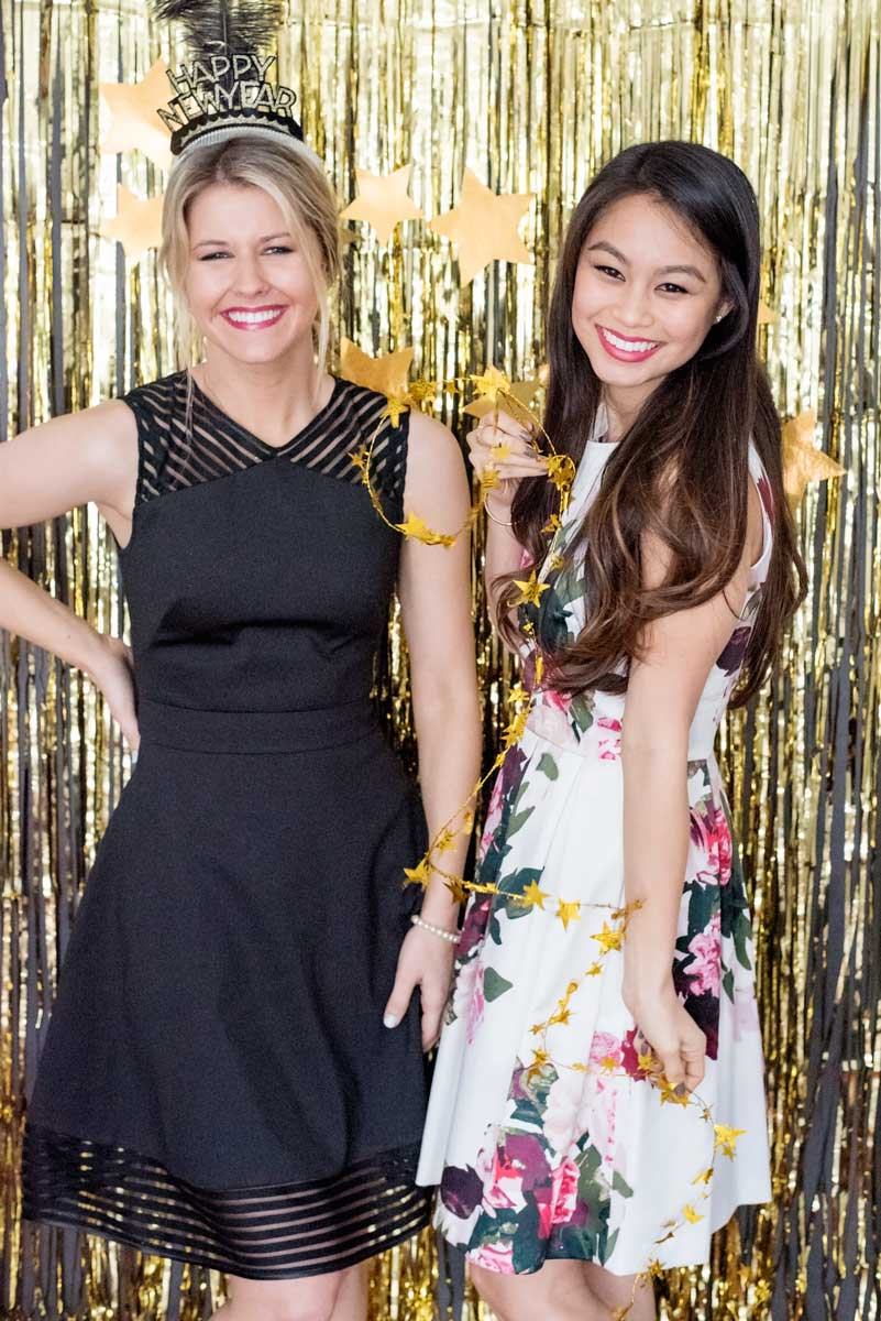 Gold Fringe Photobooth Backdrop and Prop Ideas for New Year's!