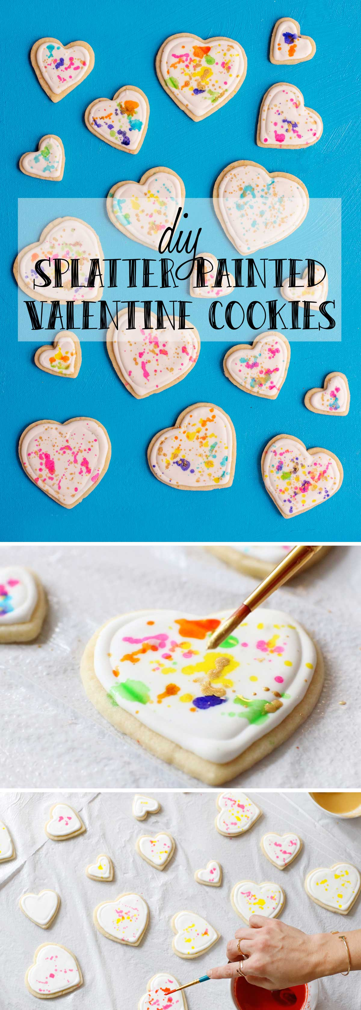 Fun Valentine's Day DIY Idea - Make Colorful Splatter Painted Heart Cookies