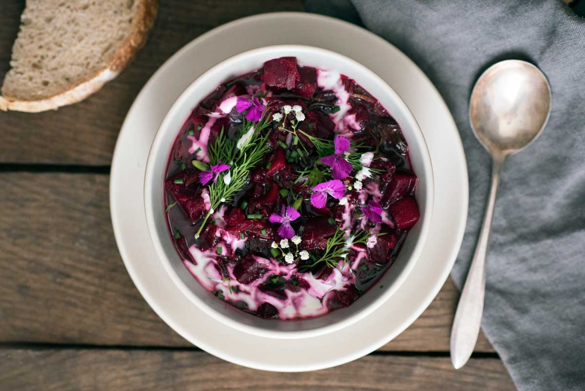 How to Make Borscht Soup - a healthy recipe with beets, apples and fresh herbs