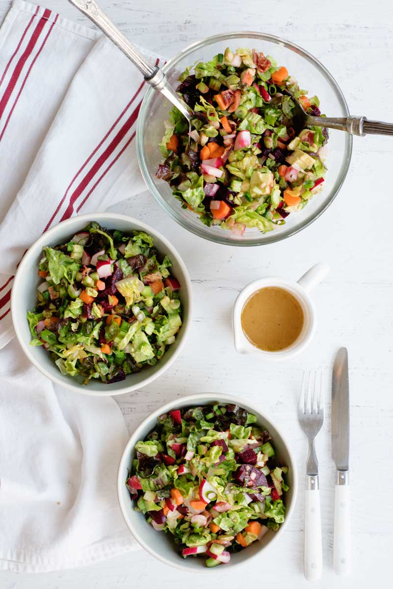 Healthy and DELICIOUS Chopped Salad with Beets, Carrots, Avocado, Radishes and Dijon Vinaigrette
