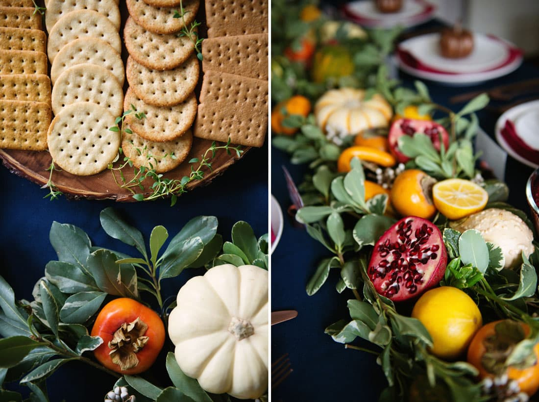 Easy and Cheap Thanksgiving Design Garland with Vegetables, Gourds, and Fruit