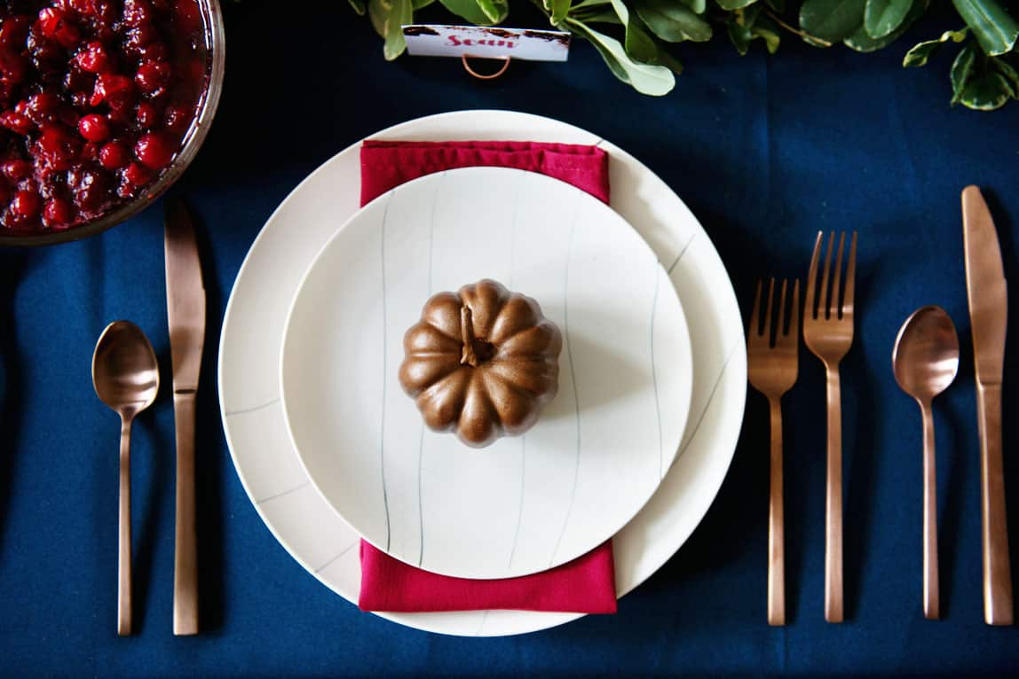 Copper and Navy Table Decorations Scheme Perfect for Thanksgiving or a Fall or Winter Wedding