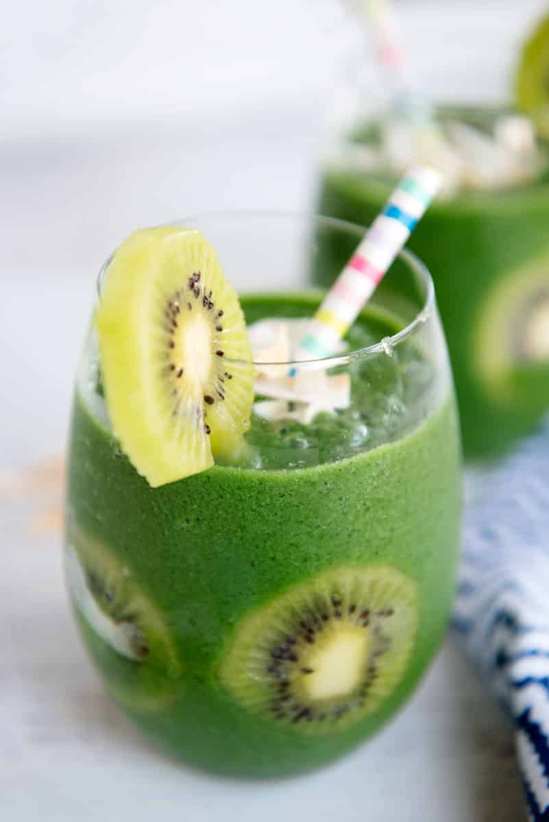 Healthy Vegan Green Kiwi Kale Smoothie Recipe with Coconut Water