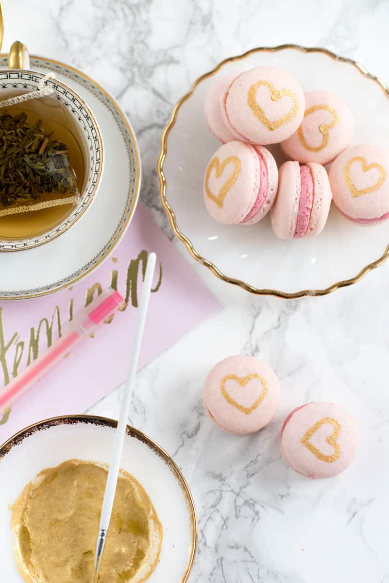 Painted Gold Heart French Macarons Recipe with Raspberry Filling